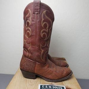 Nocona Bullhide Brown Cowboy Boots VTG